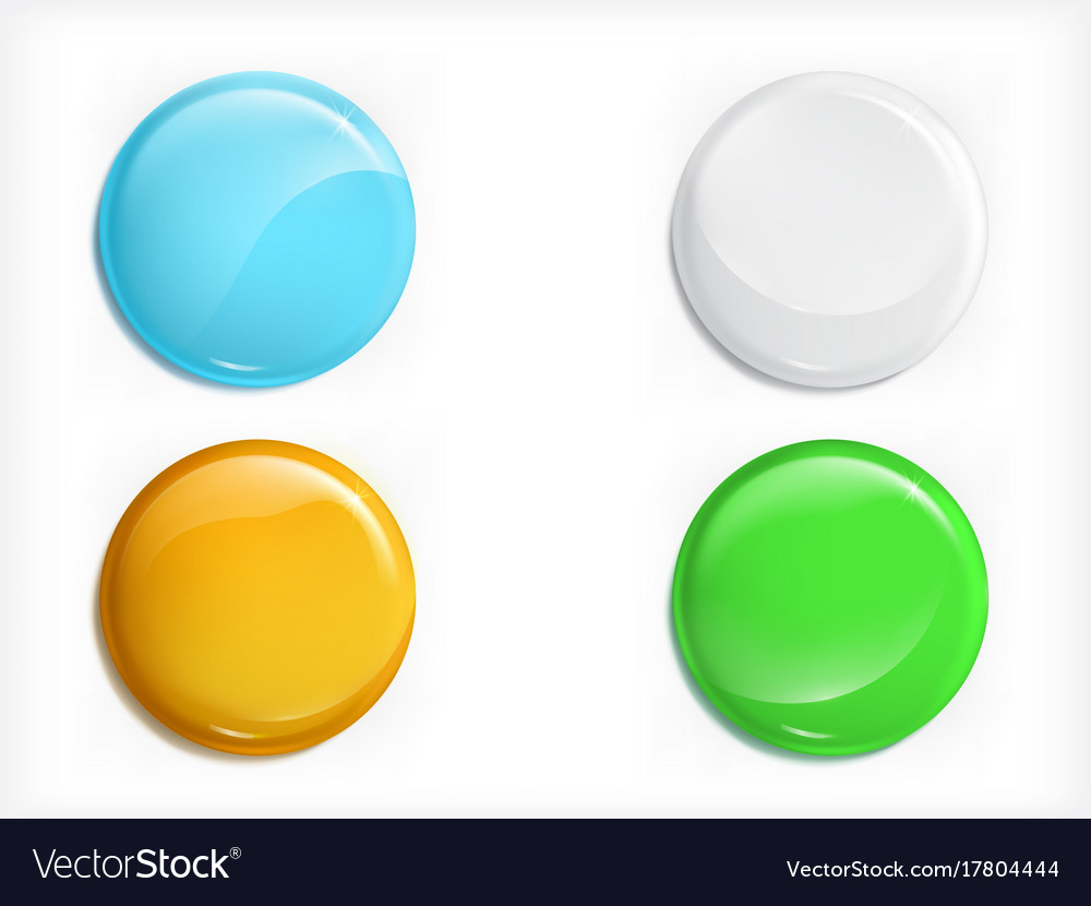 Colored glossy round buttons realistic set