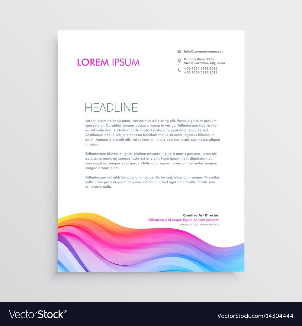 Colorful wave effect letterhead design