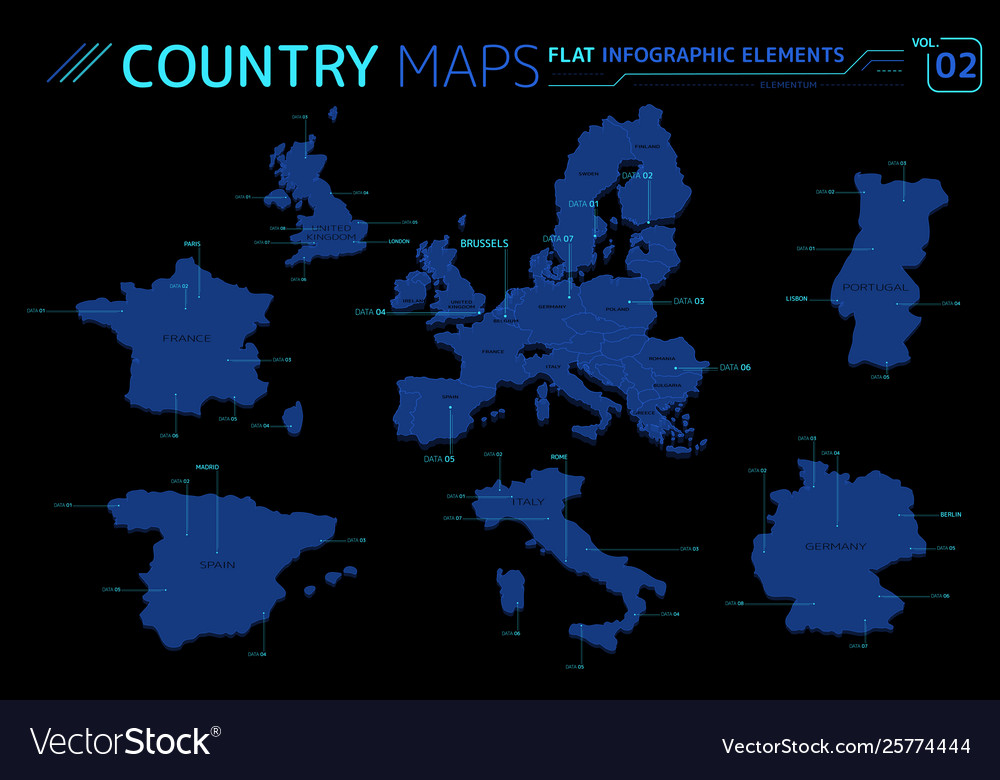 Map Of England France And Italy.Europe United Kingdom France Spain Italy