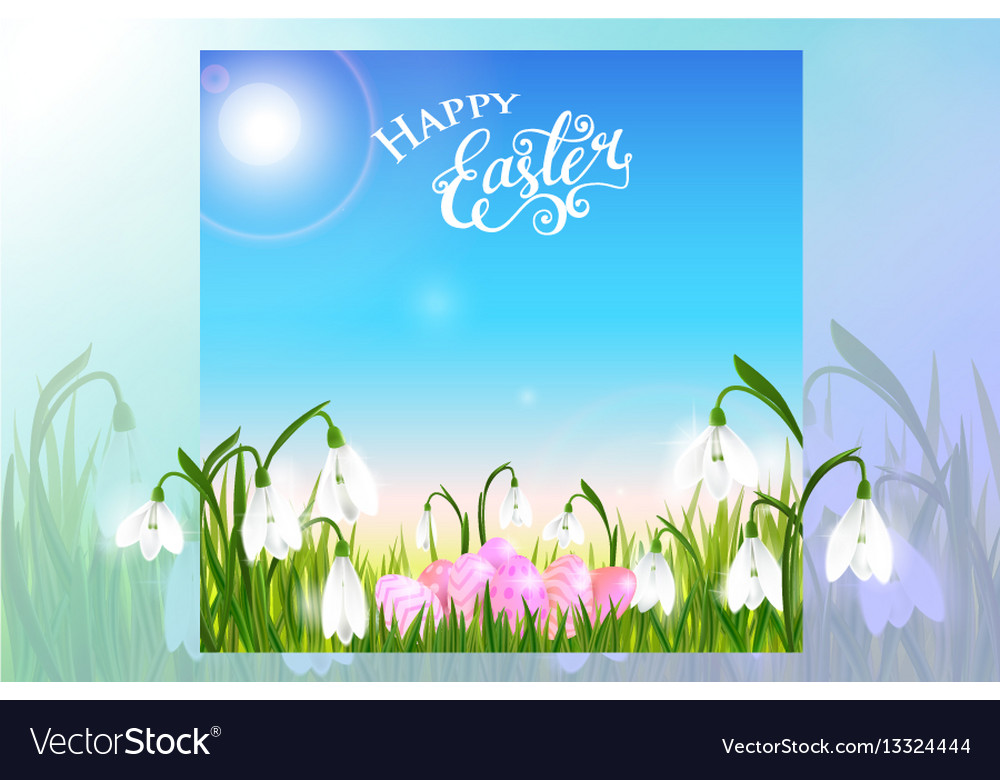 Happy easter card with eggs spring flowers green
