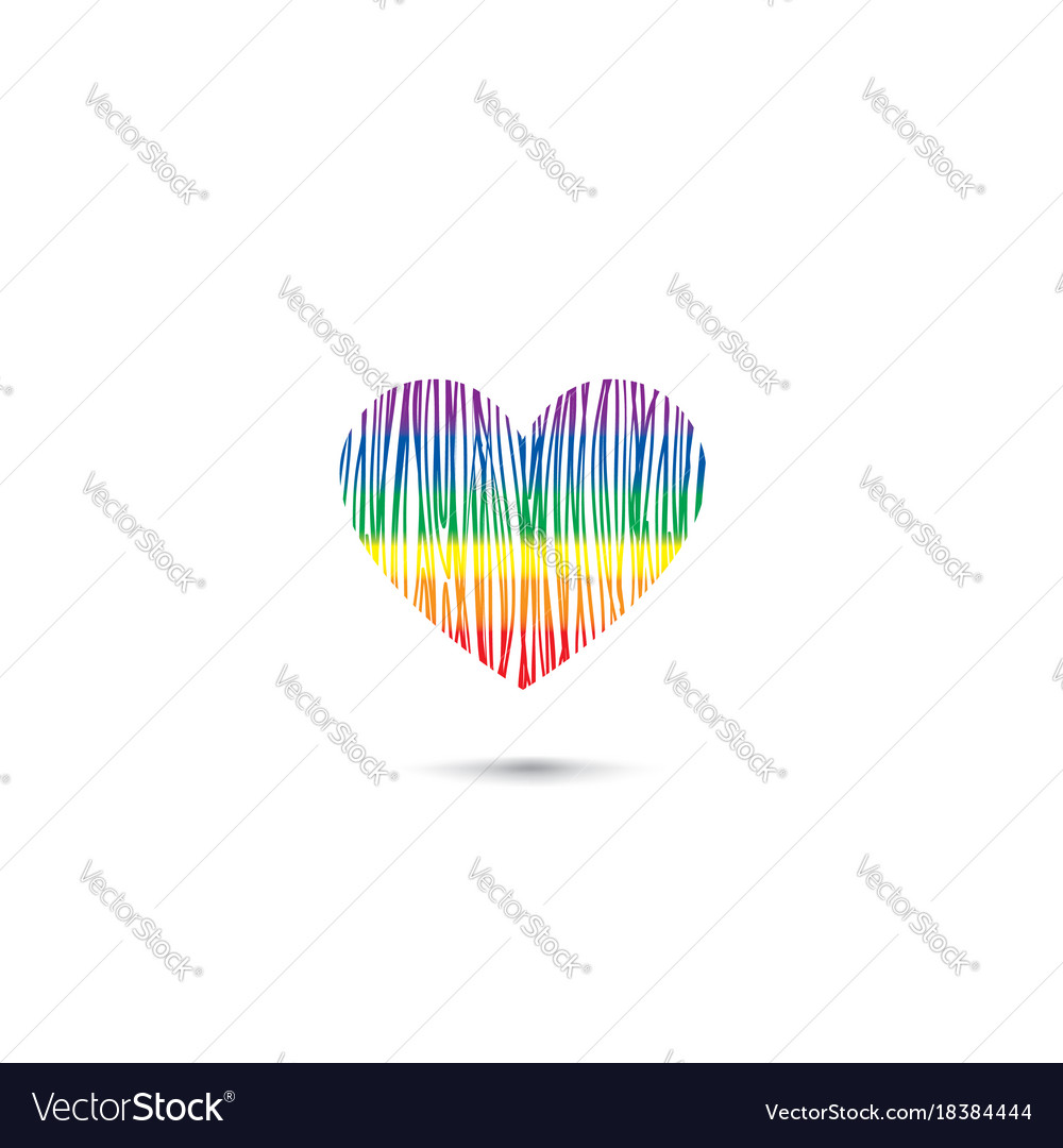 Heart sign in lgbt colors rainbow drawn love card