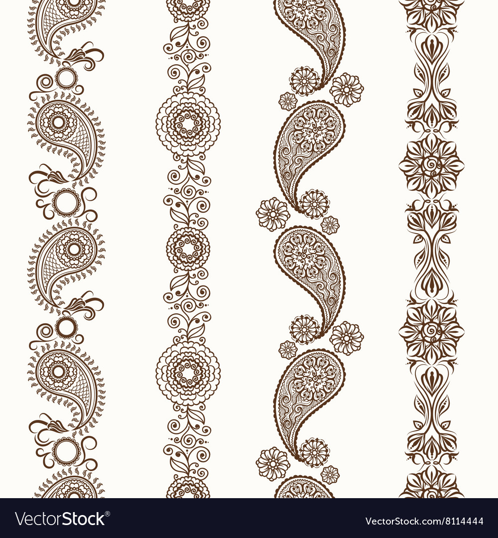 Henna mehndi ornamental borders