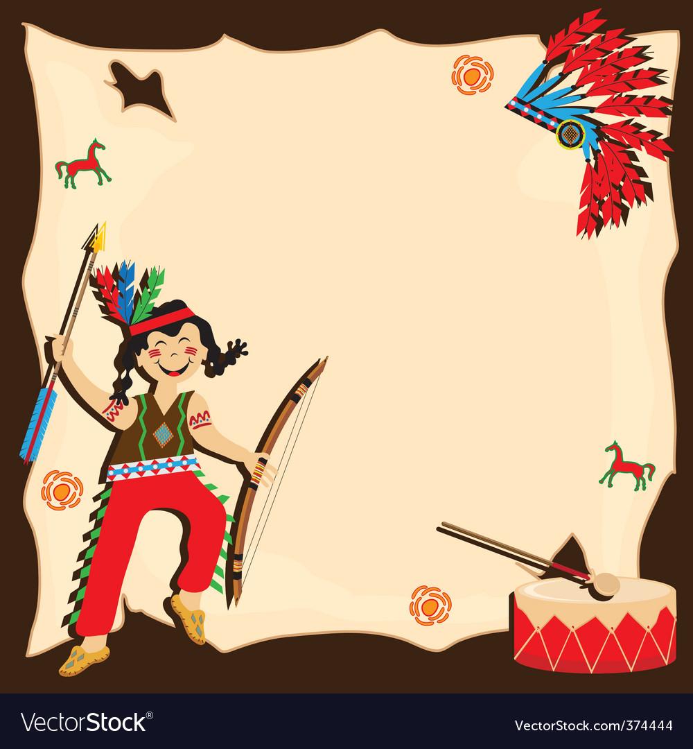 открытка приглашение с индейцами месте