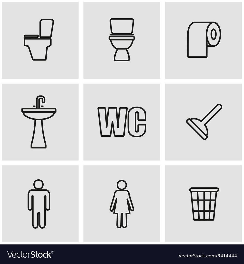 Line toilet icon set