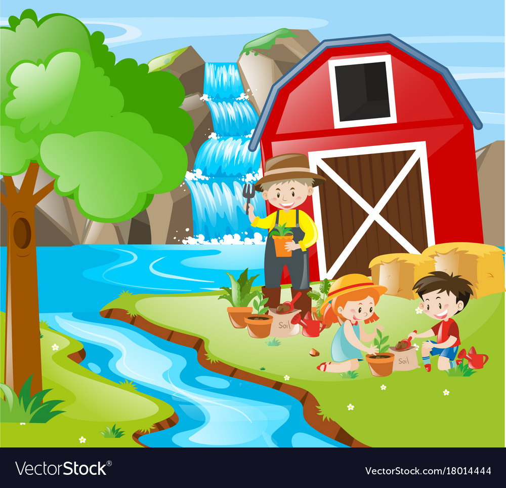 people planting tree by the river royalty free vector image vectorstock
