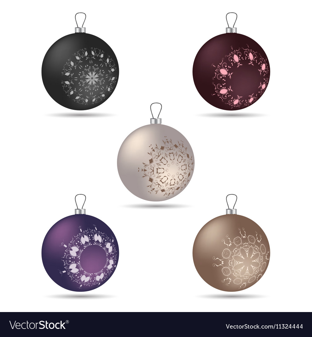 Set Of Five Christmas Balls Of Different Colors