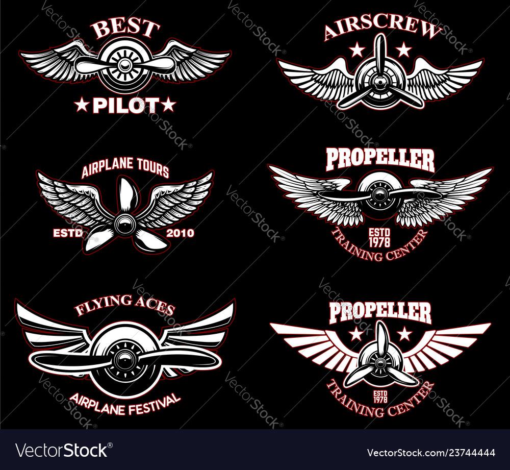 Set of vintage airplane emblems design elements
