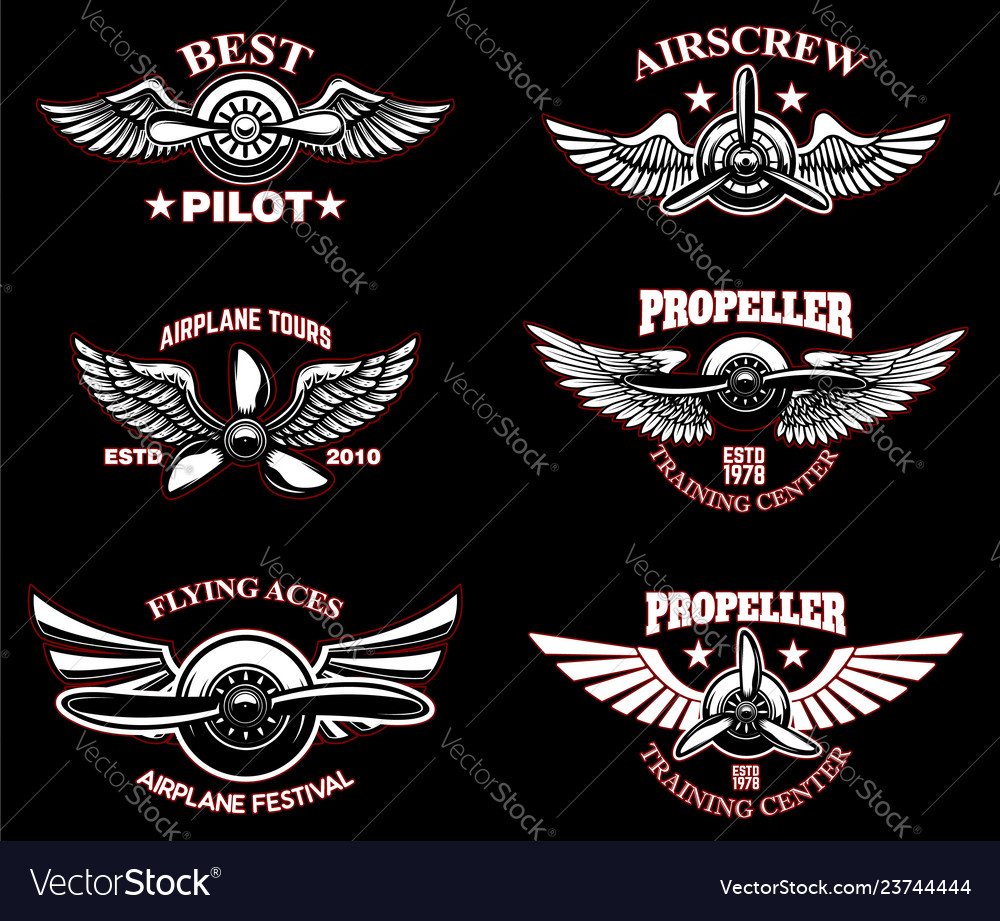 Set vintage airplane emblems design elements
