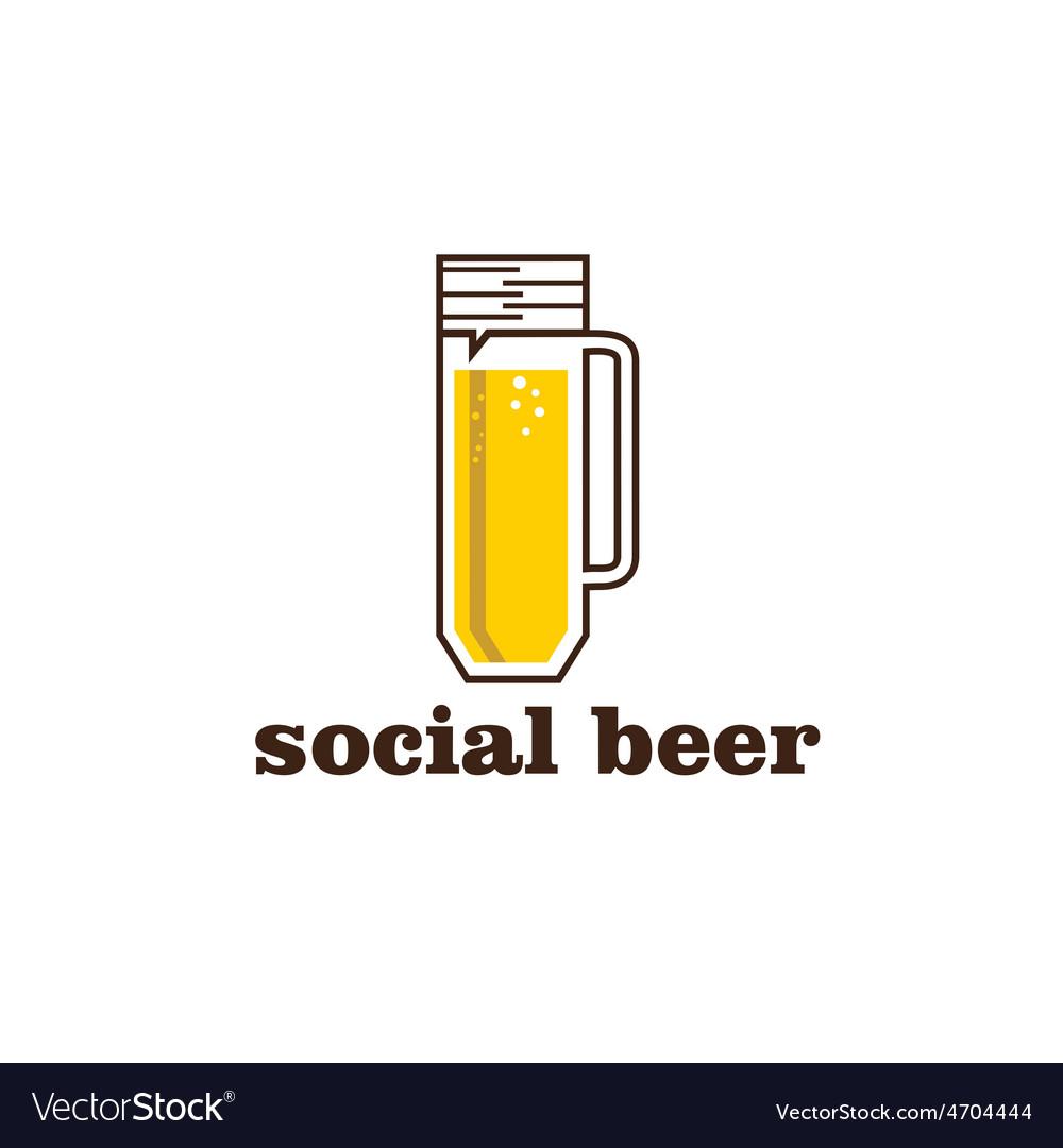 Social beer mug pub design template Royalty Free Vector