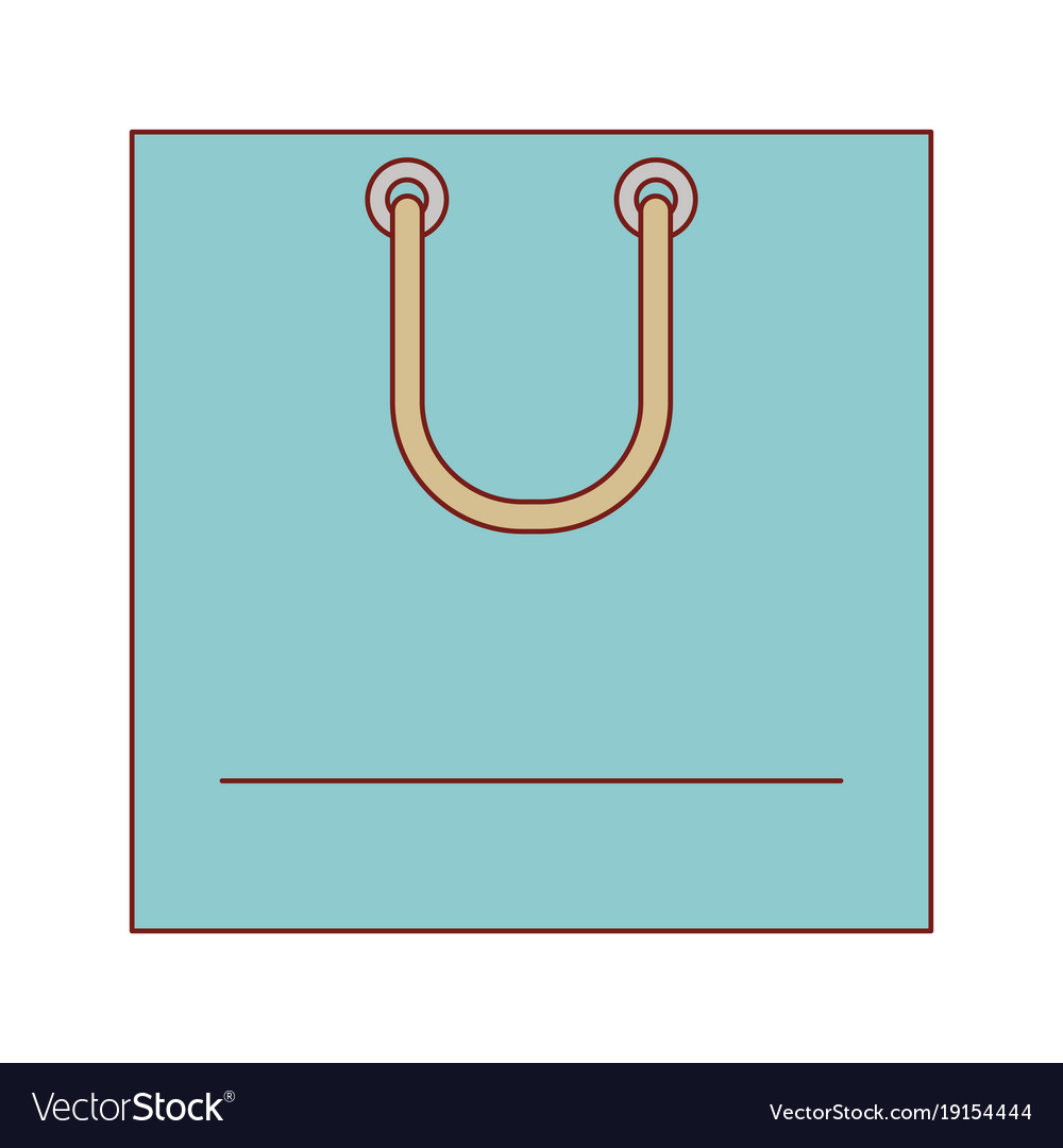 Square shopping bag icon with handle in colorful