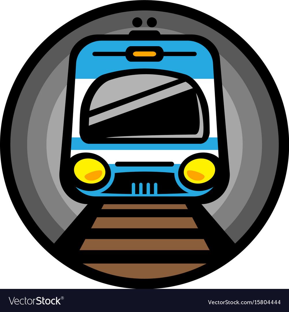 Subway train light rail car icon vector image