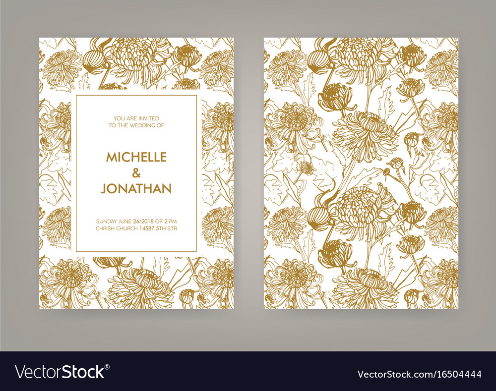 Wedding invitation with golden japanese Royalty Free Vector