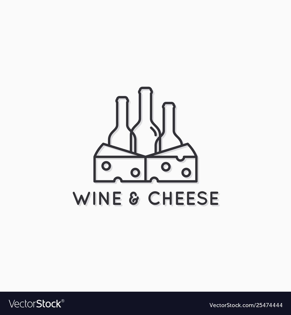 Wine and cheese linear logo wine bottles