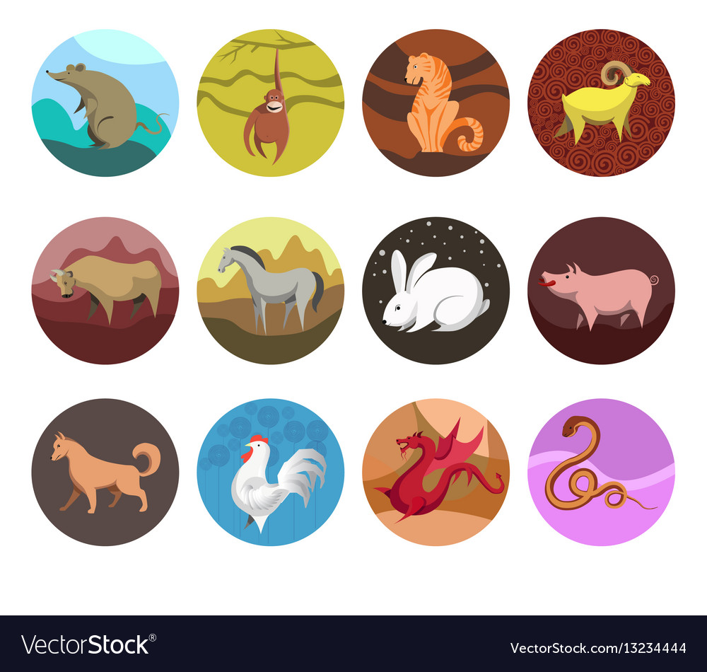 Zodiac set icons of zodiac animals for horoscope