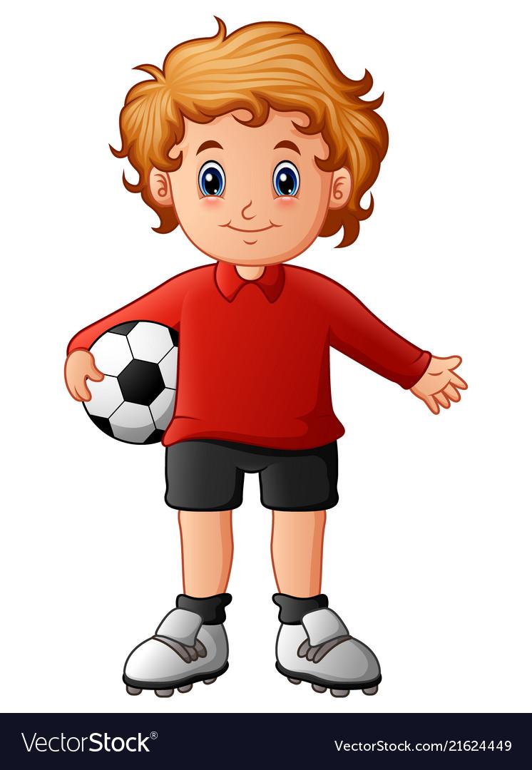 Cartoon boy holding soccer ball
