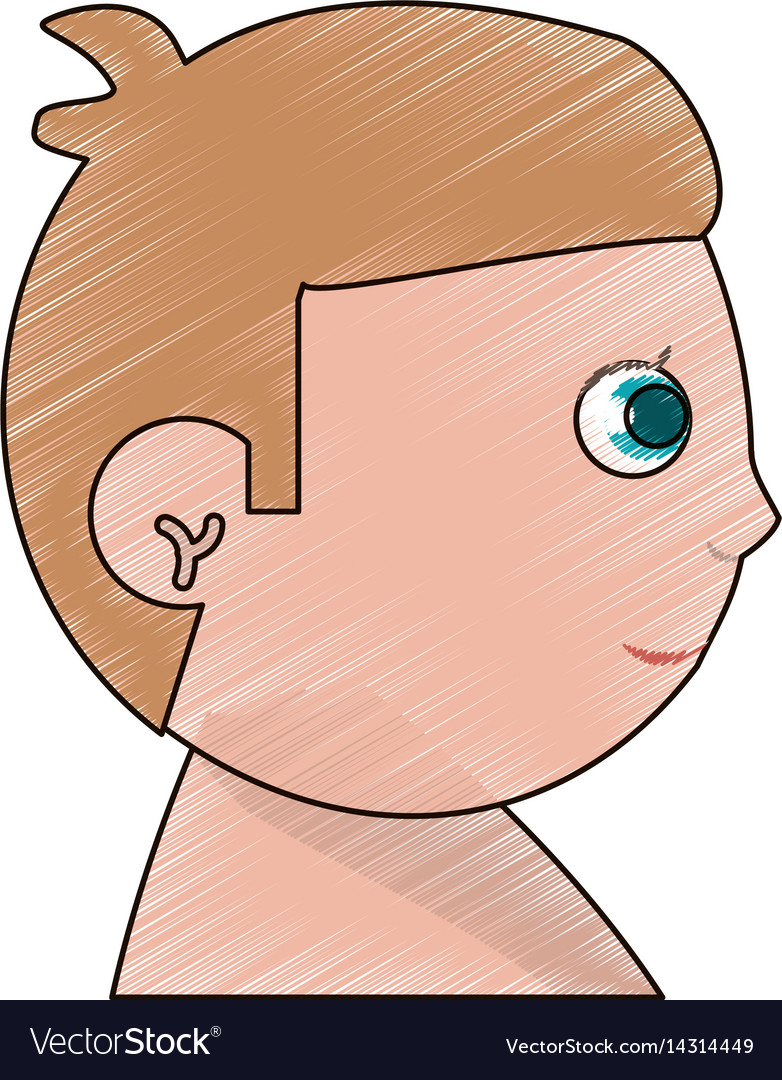 Drawing head baby boy kid vector image