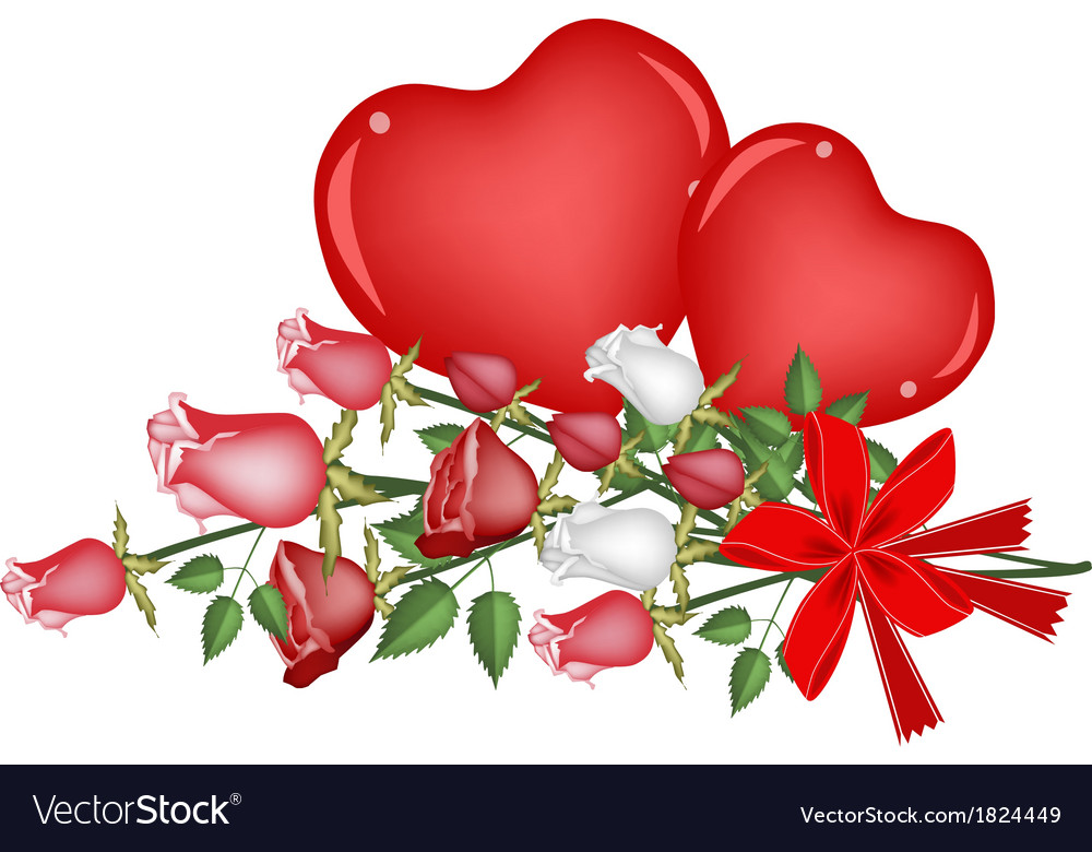 Lovely Rose With Red Bow And Two Hearts Royalty Free Vector