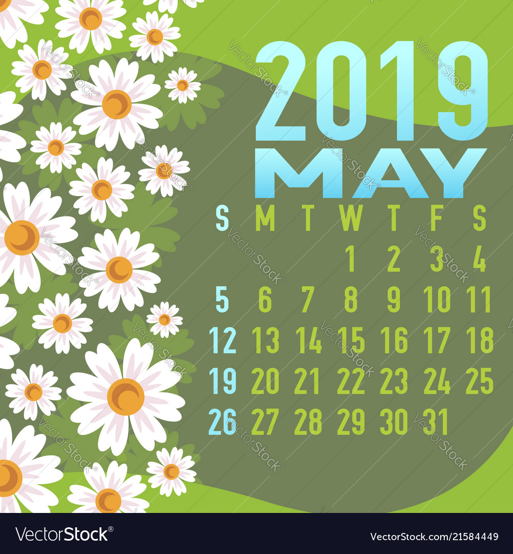 May 2019 calendar template with abstract