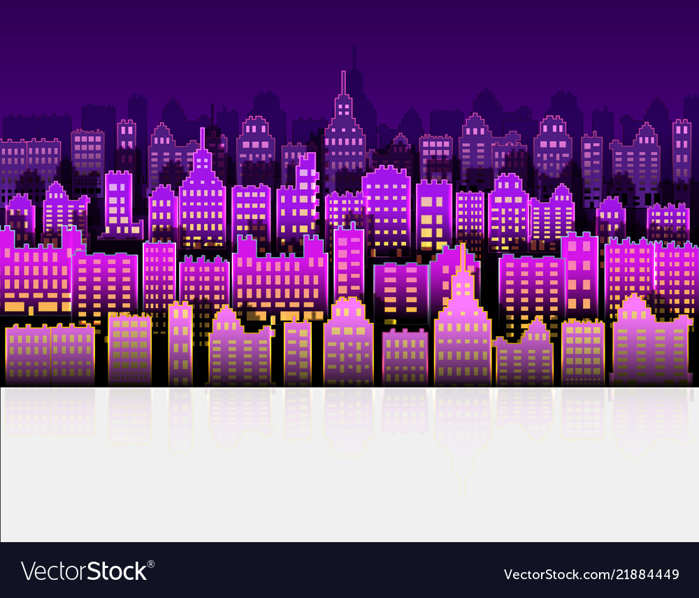 Neon city modern color with paper background
