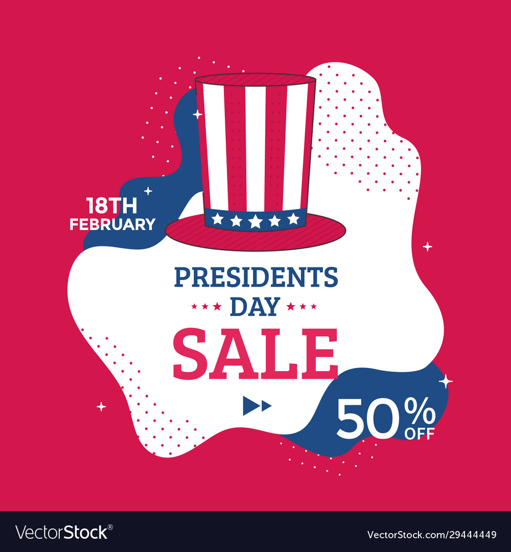 Presidents day sale poster design with red hat