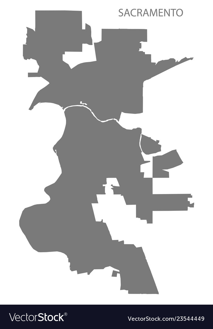 Sacramento California City Map Grey Silhouette Vector Image