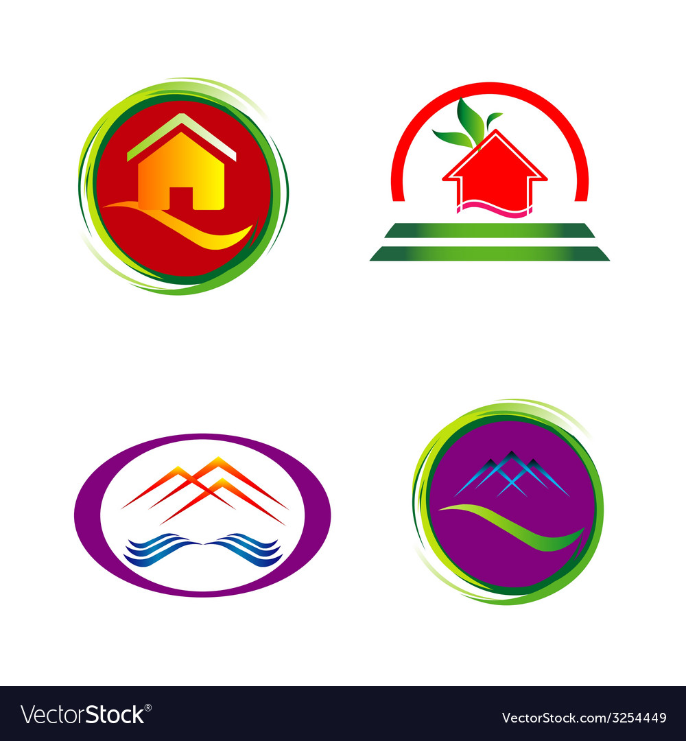 Set of house icons symbols and logos vector image