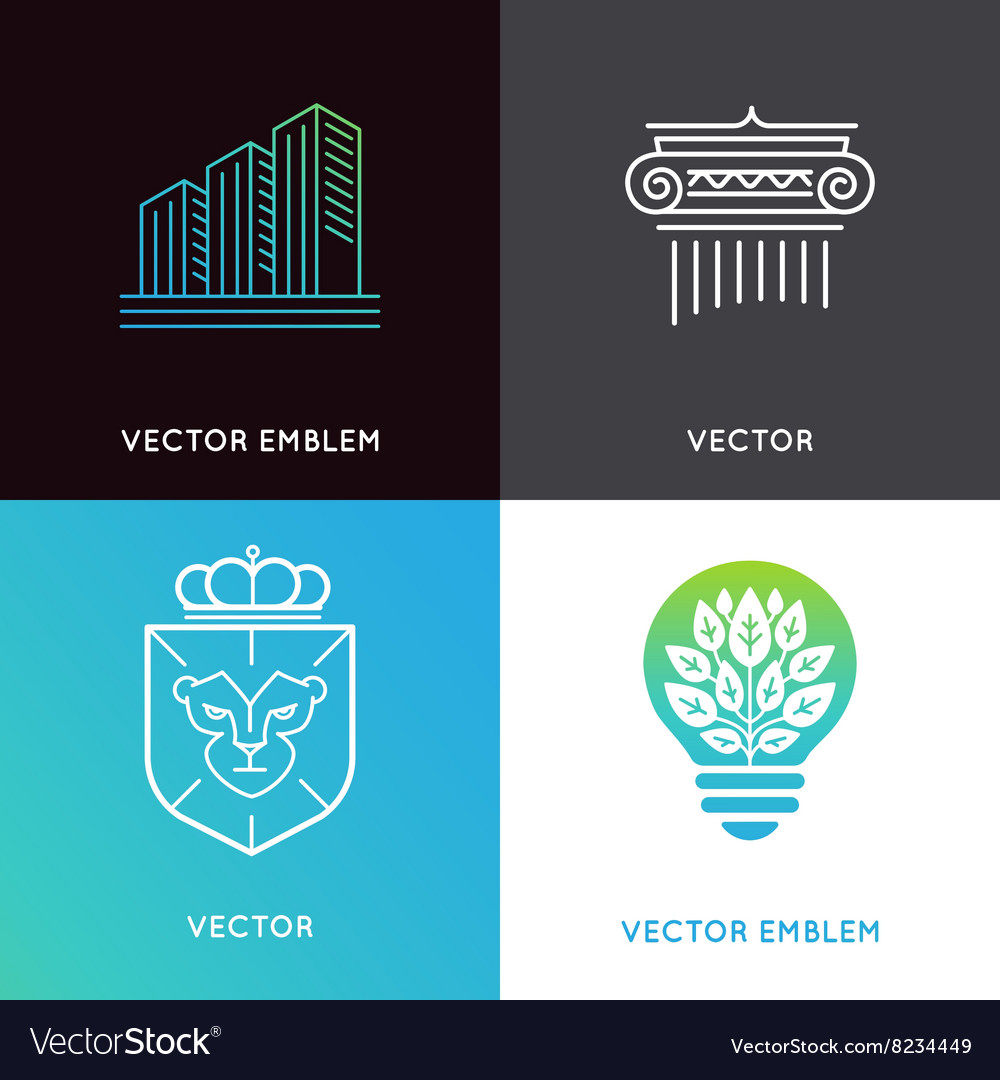 Set of logo design templates and emblems