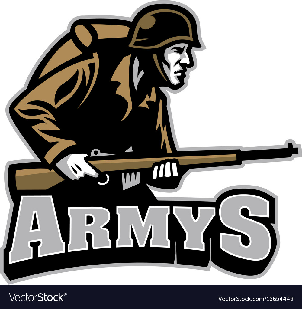 Soldier carrying the rifle mascot vector image