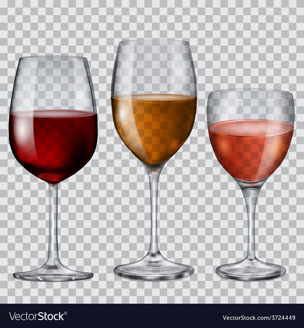Transparent glass goblets with wine vector image