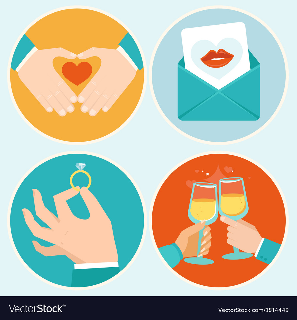 Valentine day in flat style vector image