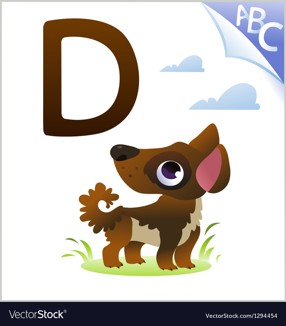 Animal alphabet for the kids D for the Dog