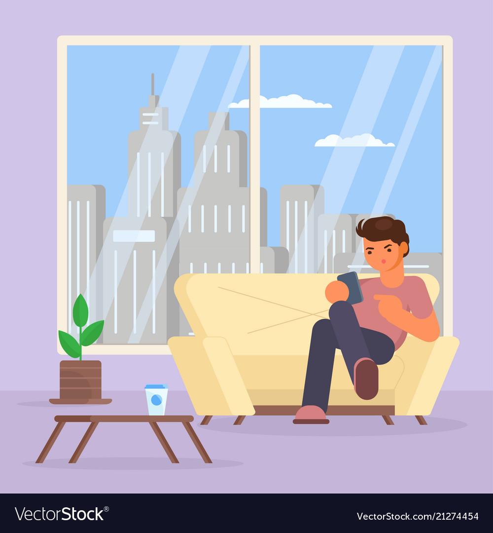Boy with smartphone on sofa