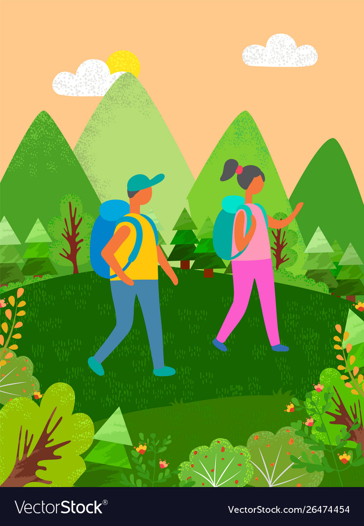 Couple traveling man and woman hiking at mountains