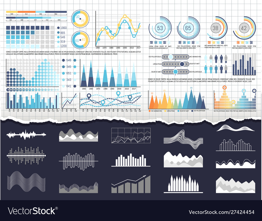 Data on infographics and flowcharts templates