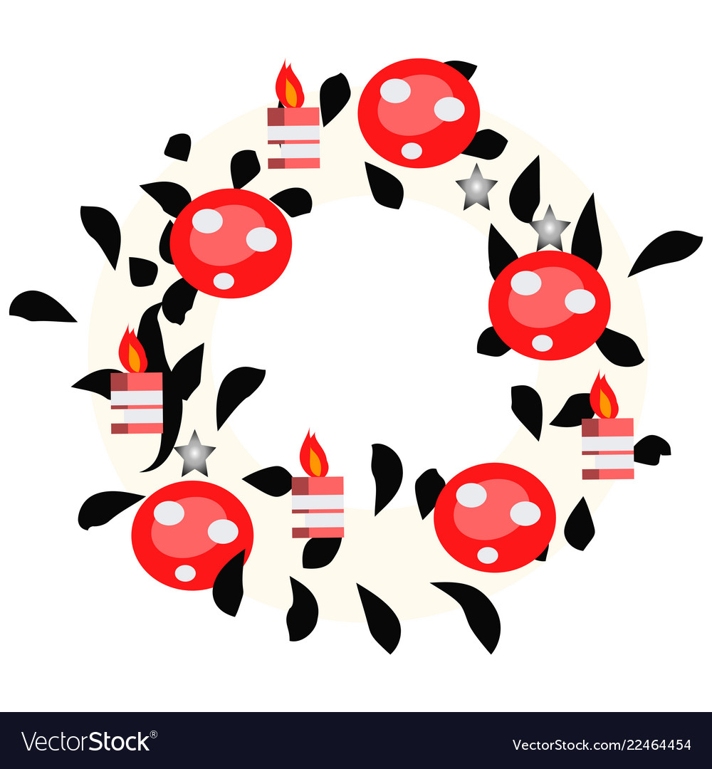 Hand drawn wreath with red balls and fir branches