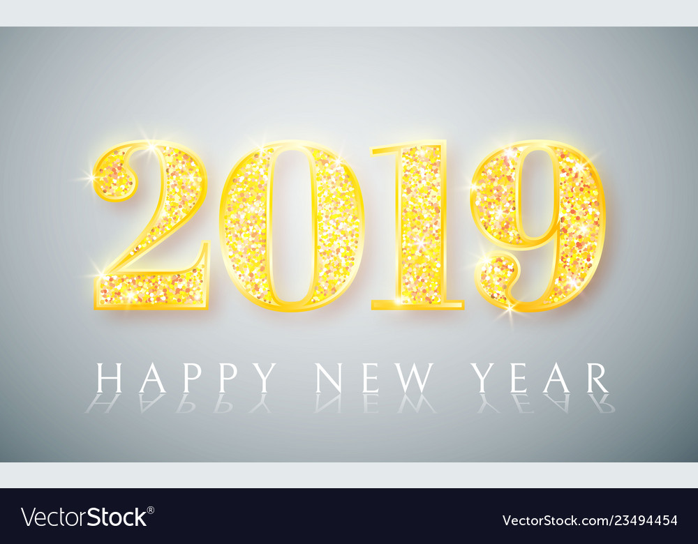 Happy new year 2019 gold numbers design of