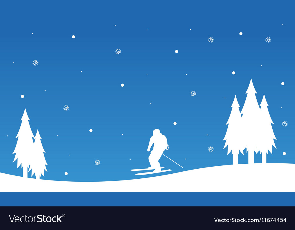 Landscape happy ski winter Christmas vector image