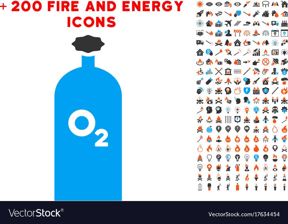 Oxygen gas cylinder icon with bonus energy set