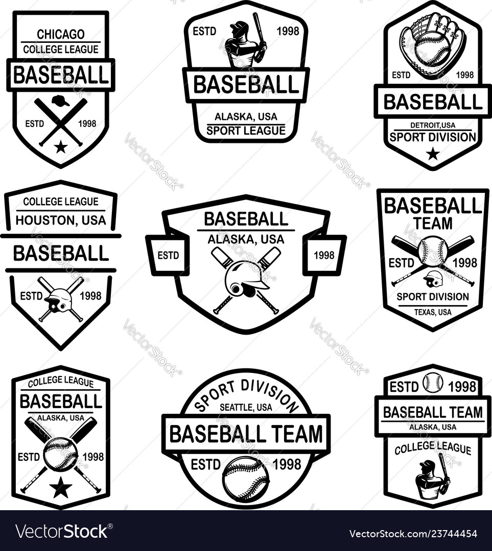 Set baseball emblems design element for logo