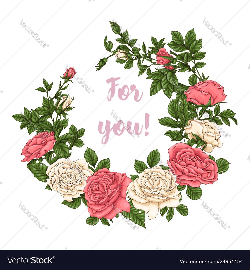 Set coral roses hand drawing