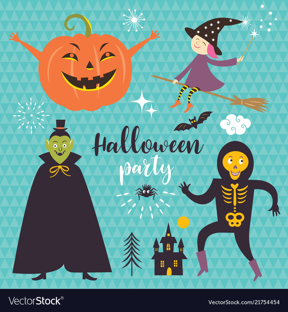 Set halloween design elements