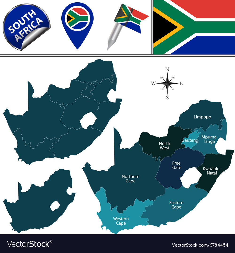 South Africa map with named divisions