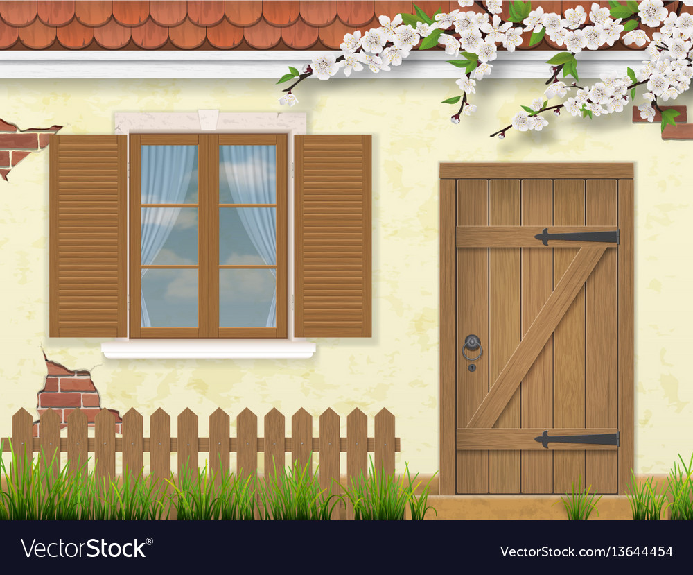 Spring old facade window wooden door