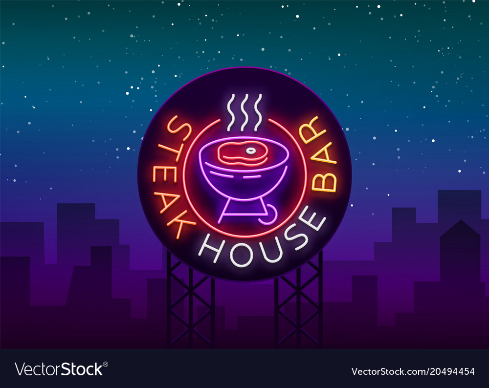 Steak house logo neon sign symbol bright