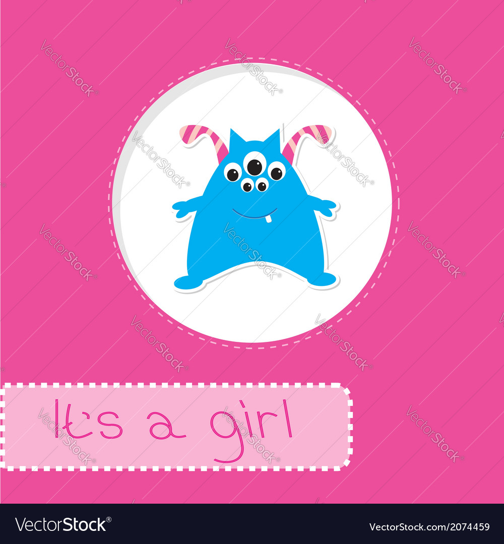 Baby shower card with monster Its a girl