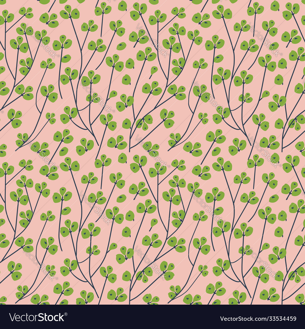 Branch with green berries seamless pattern