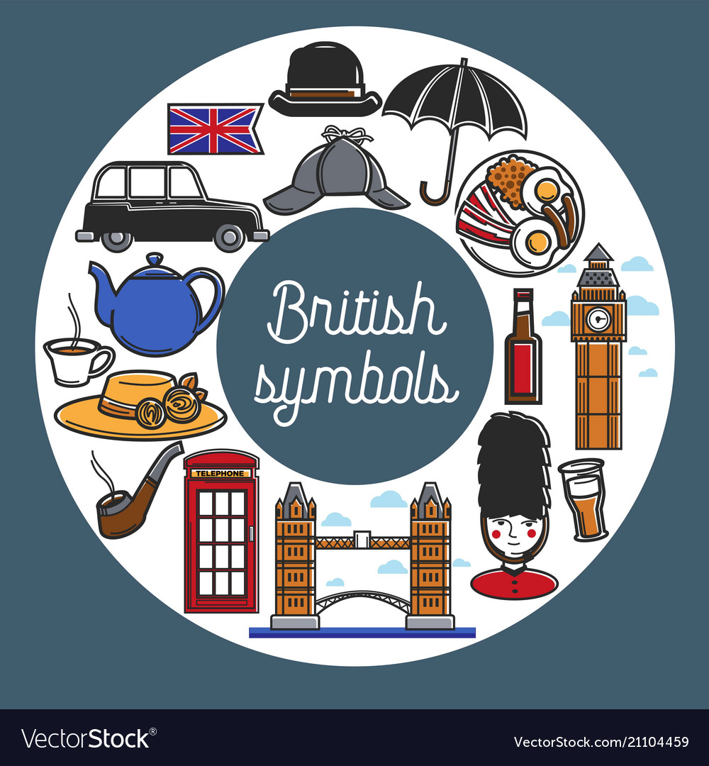 British symbols from cuisine and architecture in