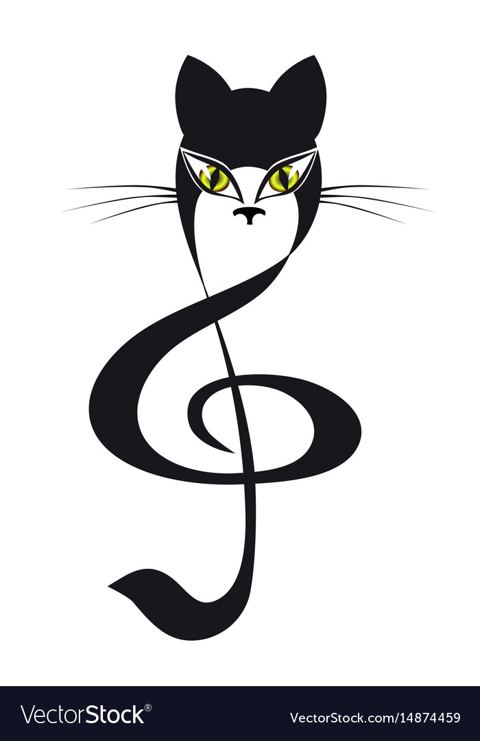 Cat treble clef cat stylized tattoo