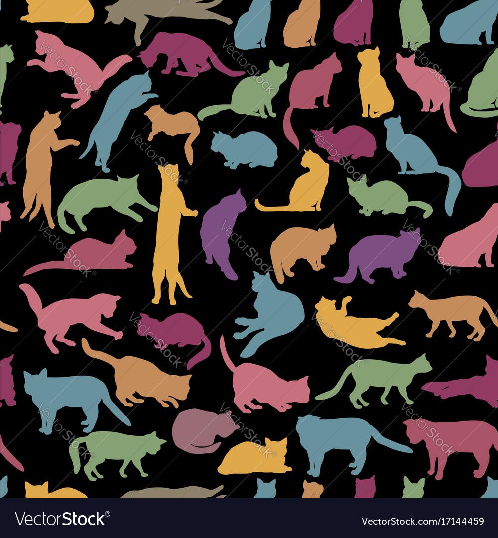 Cats seamless pattern kitten silhouettes pet