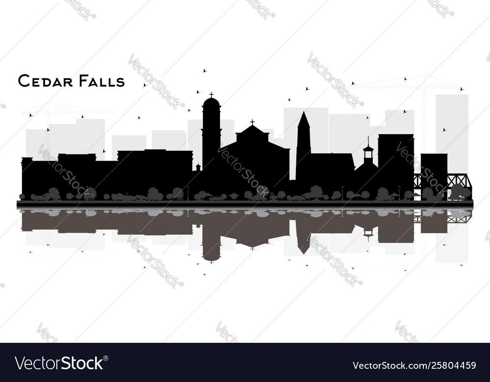 Cedar Falls City Skyline Silhouette Cedar Falls City Skyline Outline eps svg png jpg Vector Graphic Clip Art Cedar Falls Iowa